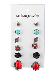 Retro National Wind Square Flowers Turquoise 6 Piece Set Of Stud Earrings
