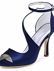 cheap -Women's Shoes Stretch Satin Summer Basic Pump Wedding Shoes Stiletto Heel Peep Toe Buckle for Wedding Party & Evening Black Dark Blue