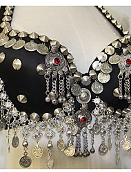abordables -Danse du ventre Sous-vêtements Femme Utilisation Polyester Pailleté Boutons Jeton argenté Paillette Chaîne Vintage Theme Soutien-gorge