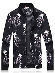 Men's Sports Plus Size Going out Simple Street chic Spring Fall Jacket,Print Stand Long Sleeve Regular Polyester