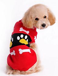 Недорогие -Собака Свитера Одежда для собак Кость Красный Розовый Хлопок Костюм Для домашних животных Муж. Жен. На каждый день