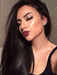 cheap -Remy Human Hair Full Lace Wig Straight 180% Density Natural Hairline / African American Wig / 100% Hand Tied Women's Short / Medium Length / Long Human Hair Lace Wig