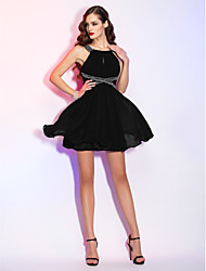A-Line Scoop Neck Short / Mini Chiffon Cocktail Party Homecoming Holiday Dress with Beading Draping Lace by TS Couture®