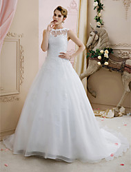 cheap -Ball Gown Illusion Neck Court Train Lace / Organza Made-To-Measure Wedding Dresses with Beading / Appliques / Buttons by LAN TING BRIDE®