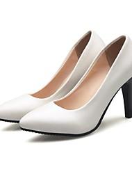 Damen Schuhe Kunstleder Frühling Pumps High Heels Stöckelabsatz Spitze Zehe Für Kleid Weiß Beige