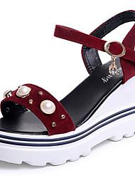 cheap -Women's Shoes PU Summer Comfort Sandals Wedge Heel Round Toe Beading For Casual Burgundy Khaki Black White