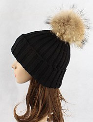 cheap -Women Wool Acrylic Raccoon Fur Floppy Hat Ski Hat,Hat Knitwear Hats Solid Fall Winter Pure Color