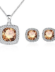 Women's Drop Earrings Pendant Necklaces Cubic Zirconia Basic Fashion Zircon Alloy Square Drop Earrings Necklace For Party Daily Wedding