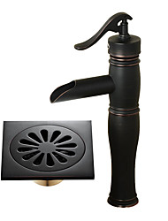 cheap -Centerset Waterfall Ceramic Valve Single Handle One Hole Black , Bathroom Sink Faucet