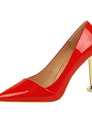 cheap -Women's Shoes Leatherette Spring / Fall Comfort Heels Stiletto Heel Pointed Toe for Dress Camel / Dark Brown / Nude