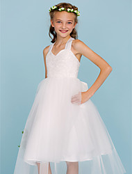 cheap -Ball Gown Tea Length Flower Girl Dress - Lace Tulle Sleeveless Strap with Bow(s) by LAN TING BRIDE®