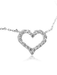 cheap -Women's Heart Love Heart Pendant Necklace AAA Cubic Zirconia Sterling Silver Zircon Pendant Necklace , Gift Valentine