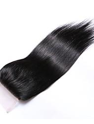 cheap -18 Inches Grade 8A 4x4 Lace Top Closure 100% Brazilian Human Hair 3 Part/Middle Part/Free Part #1B Natural Black Straight Hair Closure 1 Pcs