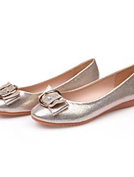 cheap -Women's Shoes Microfiber Spring / Summer Moccasin Flats Flat Heel Round Toe Buckle Gold / Black / Silver