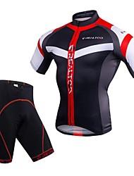 Realtoo Cyklodres a kraťasy Pánské Krátký rukáv Jezdit na kole Sady oblečení Rychleschnoucí Prodyšnost 3D Pad Lehký elastan 100% polyester
