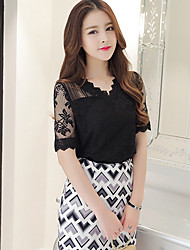 Women's Daily Going out Sexy Sophisticated Blouse,Solid V Neck Short Sleeves Polyester
