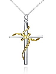 cheap -Men's Women's Cross Silver Plated Pendant Necklace  -  Fashion Cross Gold Necklace For Party Stage