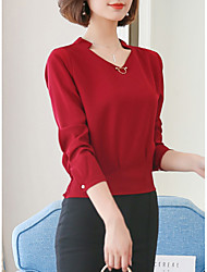 cheap -Women's Work Cute Fall Blouse,Solid V Neck Long Sleeves Polyester