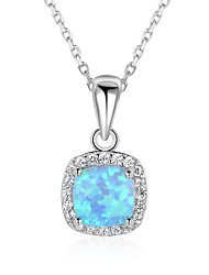 cheap -Women's Square Shape Christmas Pendant Necklace Synthetic Opal Sterling Silver Pendant Necklace Gift Valentine