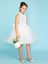 cheap -Ball Gown Crew Neck Knee Length Lace Tulle Junior Bridesmaid Dress with Bow(s) by LAN TING BRIDE®