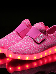 cheap -Girls' Shoes Knit Fabric Tulle Net Fall Winter Light Up Shoes Comfort Sneakers Magic Tape LED For Casual Outdoor Blushing Pink Blue Red