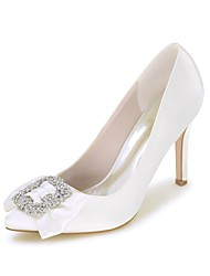 Women's Wedding Shoes Basic Pump Spring Summer Satin Wedding Party & Evening Rhinestone Bowknot Stiletto Heel Ivory Champagne Blue Red