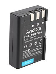 andoer en-el9 en-el9a batería de li-ion recargable 7.4v 1200mah para nikon d3x d40x d40 d60 d3000 d5000 dslr videocámara de cámara