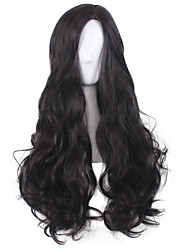 Women Synthetic Wig Capless Medium Long Wavy Deep Wave Black Natural Hairline Middle Part Layered Haircut Halloween Wig Cosplay Wigs