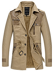 cheap -Men's Daily Plus Size Simple Casual Winter Fall Trench Coat,Solid Shirt Collar Long Sleeve Long PU Cotton Acrylic