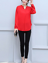 Women's Casual/Daily Work Sexy Street chic Sophisticated Fall Winter Blouse,Solid V Neck Long Sleeves Others Medium