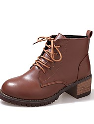 cheap -Women's Shoes PU Fall Combat Boots Boots Chunky Heel Round Toe Lace-up For Dress Light Brown Black