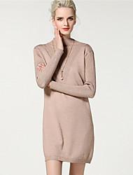 abordables -Mujer Punto Vestido Noche Casual/Diario Simple Chic de Calle Sofisticado,Un Color Escote Chino Sobre la rodilla Manga Larga Poliéster