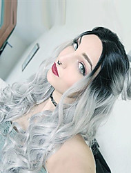 cheap -Synthetic Wig Wavy Middle Part Dark Roots Ombre Hair Gray Women's Capless Natural Wigs Long Synthetic Hair