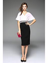 preiswerte -Damen Hülle Kleid-Party / Abend Schick & Modern Einfarbig V-Ausschnitt Knielang Halbärmel Polyester Sommer Hohe Hüfthöhe Mikro-elastisch