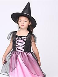 Недорогие -ведьма Косплэй Kостюмы Детские Хэллоуин Фестиваль / праздник Костюмы на Хэллоуин Розовый Мода