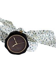 Women's Fashion Watch Wood Watch Japanese Quartz Wooden Fabric Band Charm Unique Creative Elegant White