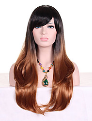 cheap -Women Synthetic Wig Capless Long Wavy Black/Dark Auburn Ombre Hair Dark Roots With Bangs Cosplay Wig Costume Wig