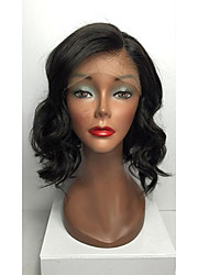 cheap -Human Hair Lace Front Wig / Glueless Lace Front Wig Brazilian Hair Body Wave Layered Haircut 130% Density Middle Part Bob / Natural Hairline / African American Wig Women's Short / Medium Length / Long