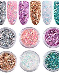 6pcs Manicure Color Glitter Sequins Nail Patch Accessories