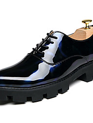 Men's Shoes Patent Leather Fall Winter Formal Shoes Oxfords Lace-up For Casual Party & Evening Black