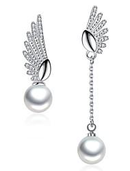 economico -Per donna Orecchini a goccia Zircone cubico Perle finte Di tendenza Elegant Perle finte Lega Ali / Piume Gioielli Per Matrimonio Feste