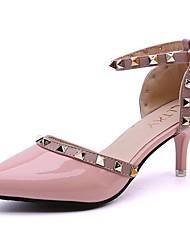 Damen Schuhe PU Sommer Komfort High Heels Stöckelabsatz Spitze Zehe Niete Für Kleid Weiß Schwarz Rot Rosa