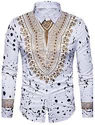 cheap -Men's Daily Street chic Shirt,Geometric Shirt Collar Long Sleeves Polyester