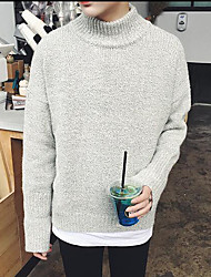 Men's Work Regular Pullover,Solid Round Neck Long Sleeves Others Spring Winter Medium Micro-elastic