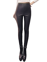 Women's Thick Solid Color Fleece Lined Legging,Striped