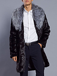 cheap -Men's Daily Plus Size Simple Casual Winter Fall Fur Coat,Solid Shirt Collar Long Sleeve Long Faux Fur