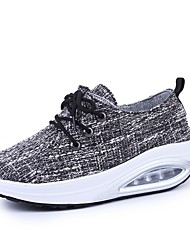 Women's Athletic Shoes Comfort Spring Fall Fabric Walking Shoes Casual Outdoor Lace-up Platform Gray Black 3in-3 3/4in