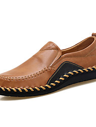 cheap -Men's Shoes Real Leather Cowhide Spring Fall Driving Shoes Comfort Loafers & Slip-Ons Split Joint For Casual Wine Brown Black