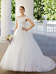 Ball Gown Off-the-shoulder Chapel Train Lace Tulle Wedding Dress with Beading Appliques Bow(s) by Amgam
