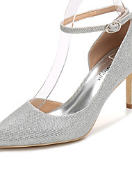 cheap -Women's Shoes Glitter Spring Fall Basic Pump Ankle Strap Wedding Shoes Stiletto Heel Pointed Toe For Wedding Party & Evening Silver Gold